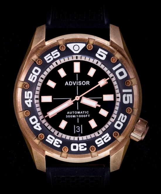 Advisor SUPA Diver Bronze Swiss Automatic Watch black dial