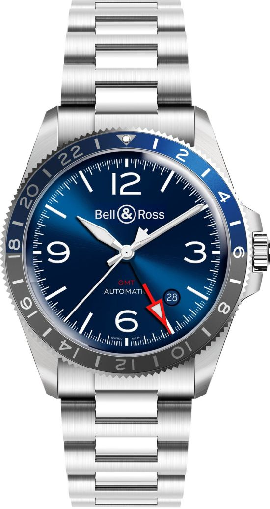Bell & Ross - BR V2-93 GMT Blue with stainless steel bracelet