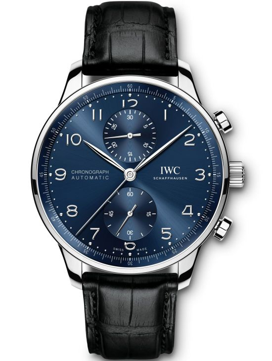 IWC Schaffhausen Portugieser Chronograph, Ref. IW371606: Stainless-steel case, blue dial, rhodium-plated hands and appliqués, black alligator leather strap.