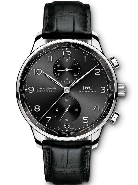 IWC Schaffhausen Portugieser Chronograph, Ref. IW371609: Stainless-steel case, black dial, rhodium-plated hands and appliqués, black alligator leather strap.