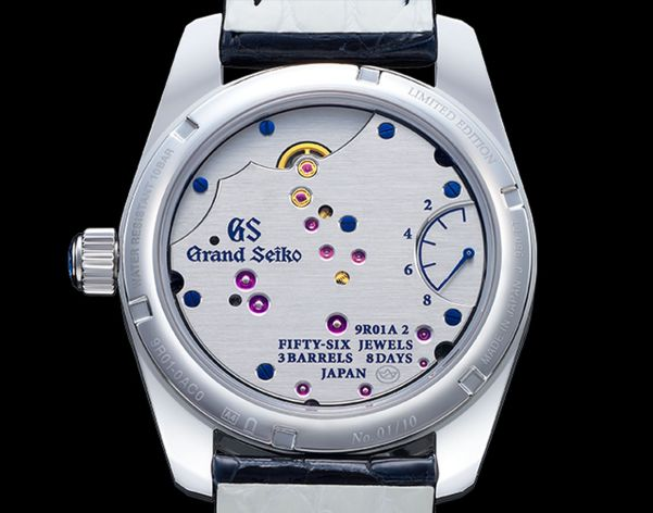 Grand Seiko Masterpiece Collection Spring Drive 8 Days Jewelry Watch caseback view 8 days movement