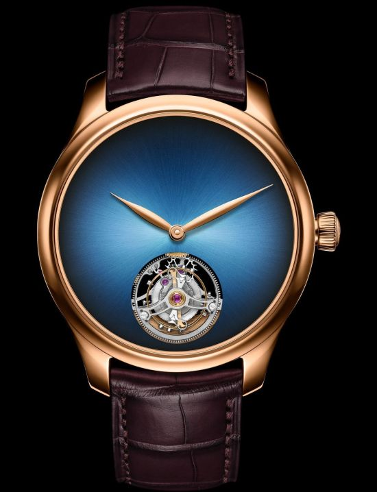 H. Moser & Cie. Endeavour Tourbillon Concept Reference 1804-0400, 5N red gold model, Funky Blue fumé dial, brown alligator leather strap, limited edition of 50 pieces