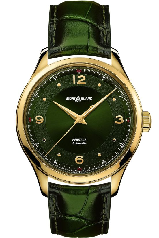 Montblanc Heritage Automatic 18 K yellow gold Model with lacquered British-racing-green dial