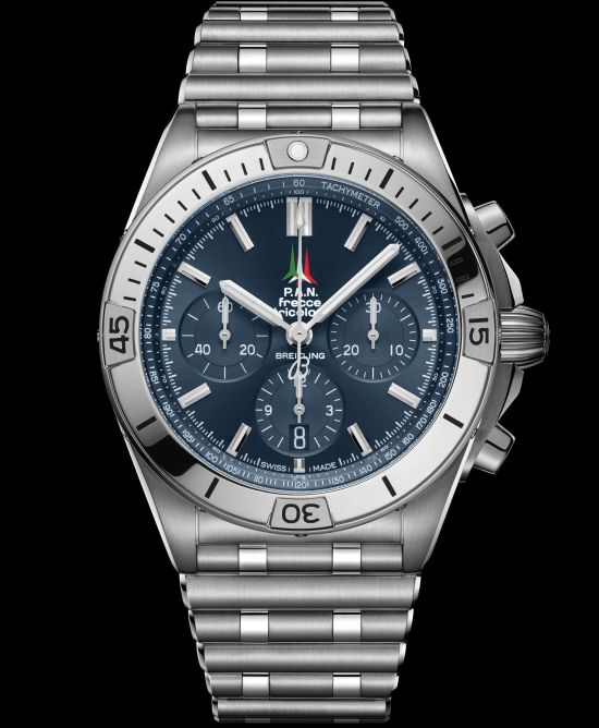 Breitling Collection_chronomat-b01-42-frecce-tricolori-limited-edition-with-a-blue-dial-and-tone-on-tone-chronograph-counters_ref-ab01344a1c1a1