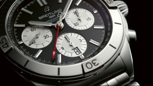 Chronomat B01 42 with a black dial and silver contrasting chronograph counters