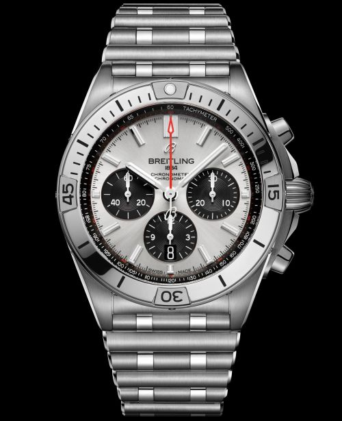 Breitling Chronomat Collection_chronomat-b01-42-with-a-silver-dial-and-black-contrasting-chronograph-counters_ref-ab0134101g1a1