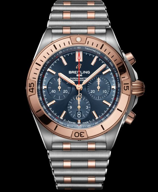 Breitling Chronomat Collection_two-tone-chronomat-b01-42-with-a-blue-dial-and-tone-on-tone-subdials-highlighted-by-an-18-k-red-gold-bezel-crown-and-pushers_ref-ub0134101c1u1