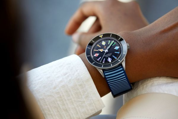 Superocean Heritage '57 Limited Edition with a light blue Outerknown ECONYL® yarn NATO strap