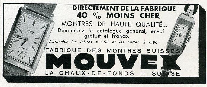 Mouvex 1911 Art Deco swiss watches vintage advertisement