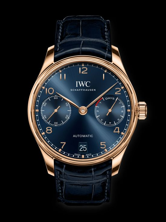IWC Schaffhausen Portugieser Automatic 42mm, Ref. IW500713 Boutique Edition: 18- carat 5N gold case, blue dial, gold-plated hands, 18-carat gold appliques, blue alligator leather strap by Santoni