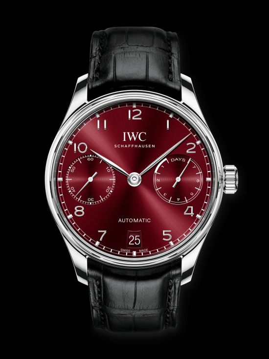 IWC Schaffhausen Portugieser Automatic 42mm, Ref. IW500714: Stainless steel case, burgundy dial, rhodium-plated hands and appliques, black alligator leather strap.