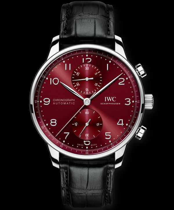 IWC Schaffhausen Portugieser Chronograph, Ref. IW371616: Stainless steel case, burgundy dial, rhodium-plated hands and appliques, black alligator leather strap.