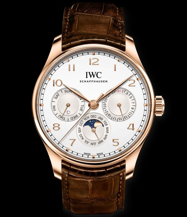 IWC Schaffhausen Portugieser Perpetual Calendar 42, Ref. IW344202: 18-carat 5N gold case, silver-plated dial, gold-plated hands, 18-carat gold appliques, brown alligator leather strap by Santoni.