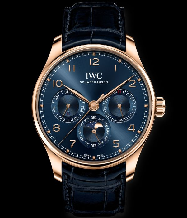 IWC Schaffhausen Portugieser Perpetual Calendar 42, Ref. IW344205 Boutique Edition: 18-carat 5N gold case, blue dial, gold-plated hands, 18-carat gold appliques, blue alligator leather strap by Santoni.