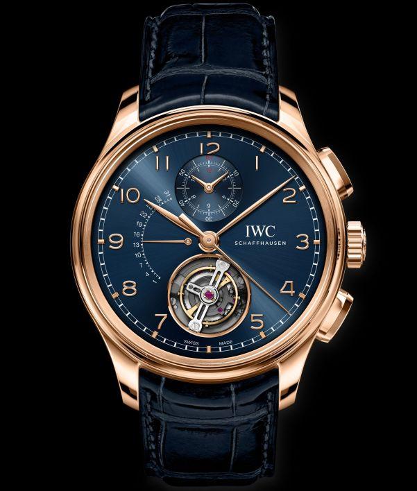 IWC Schaffhausen Portugieser Tourbillon Rétrograde Chronograph, Ref. IW394005 Boutique Edition: 18-carat Armor Gold® case, blue dial, gold-plated hands, 18-carat gold appliques, blue alligator leather strap by Santoni.
