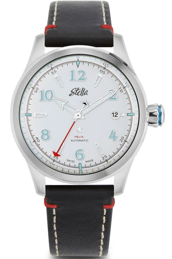 Stella Felix Grand Central Silver: Metallic Silver Dial, Super LumiNova® C1 and C3 on hands and indices, Signature grey enamel crown with blue star, Four piece case construction with gunmetal PVD case body; Washed and oiled full grain leather strap in black