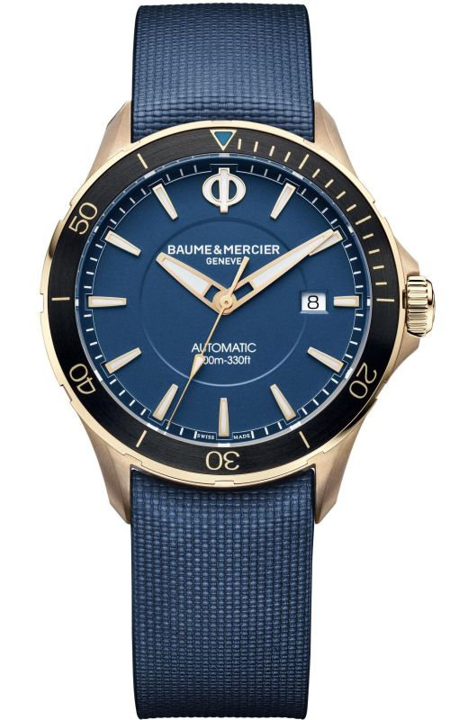 Baume & Mercier Clifton Club Bronze, Reference M0A10502, Polished & satin-finished bronze case, Blue dial