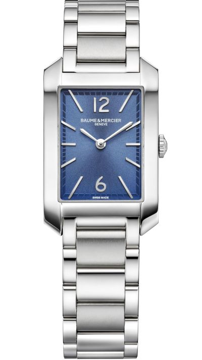 Baume & Mercier Hampton Quartz Small – Steel Case, Sun satin-finished blue dial, Steel Bracelet, Reference M0A10476
