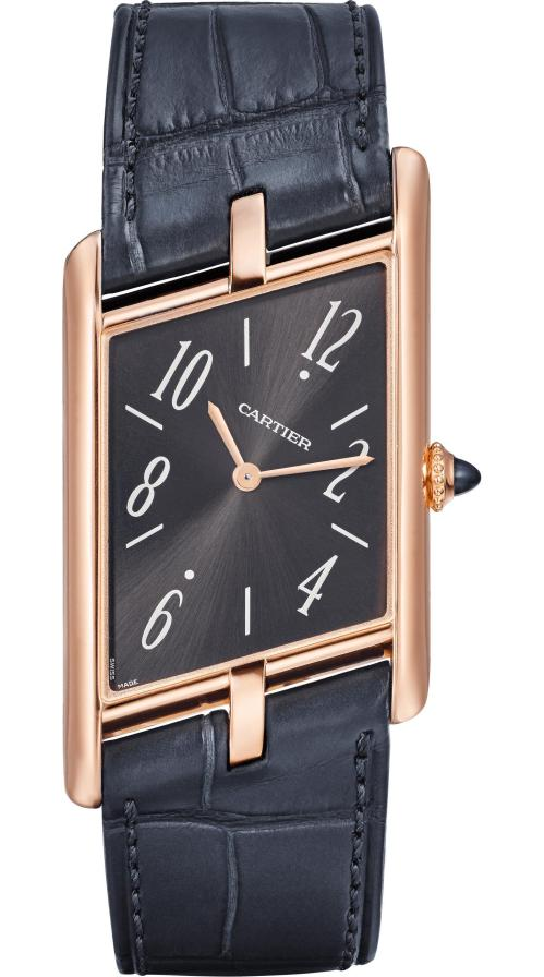 Cartier Privé Collection, the New Tank Asymétrique Watch: Extra-large model, 47.15 x 26.2 mm, thickness: 6.38 mm; 18K pink gold case; Crown set with a sapphire cabochon; Grey alligator leather strap; Limited and numbered edition of 100 pieces