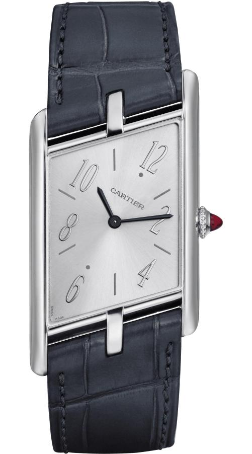 Cartier Privé Collection, the New Tank Asymétrique Watch: Extra-large model, 47.15 x 26.2 mm, thickness: 6.38 mm; Platinum case; Crown set with a ruby cabochon; Grey alligator leather strap; Limited and numbered edition of 100 pieces