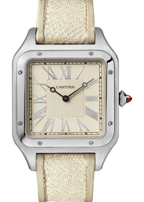 "Santos-Dumont ""La Demoiselle"" watch: Extra-large model, 46.6 x 33.9 mm, thickness: 7.5 mm; Platinum; Crown set with a ruby cabochon; Two straps, panama fabric and brown alligator leather"