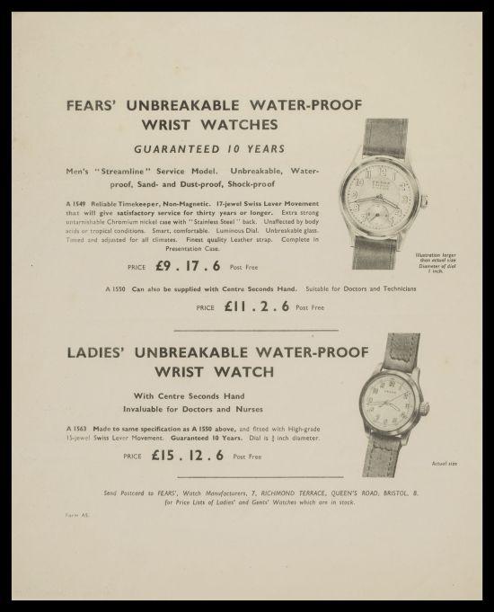 FEARS circa 1946 advert for gents Streamline wrist watch