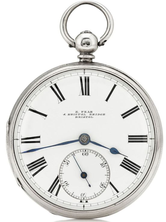 FEARS vintage sterling silver pocket watch, circa 1846