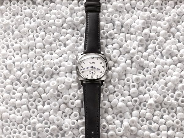 Fears Brunswick - Polar White dial on a Bristol Black strap - on white beads