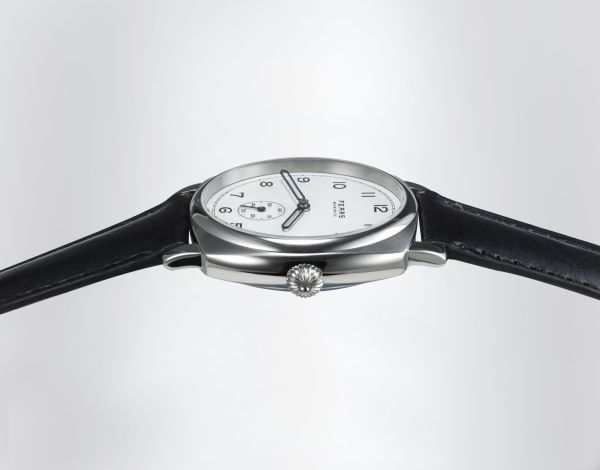 Fears Brunswick - Polar White dial on a Fears Blue strap - across dial