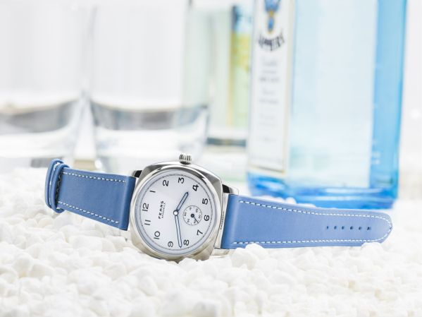 Fears Brunswick - Polar White dial on an Azzuro Blue strap made from Barenia leather