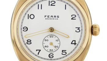 Fears Brunswick _Midas_ - Enamel White dial on a Bristol Black Bristol Leather strap - pack shot