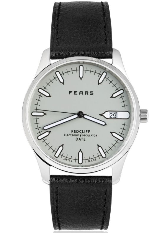 Fears Redcliff Date - Pebble Grey dial on a Black goat's skin strap