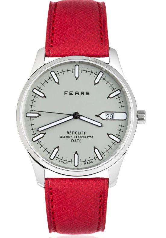 Fears Redcliff Date - Pebble Grey dial on a Dukes Red goat's skin strap