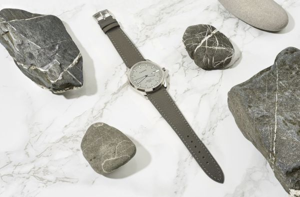 Fears Redcliff Date - _Pebble_ Grey dial on Pebble Grey strap - with pebbles from London Thames