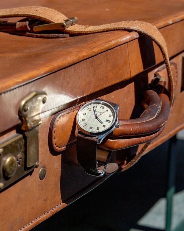 Fears Redcliff _Streamline_ - Forties Silver dial on a Mink Brown Goat's Leather strap - on vintage suitcase - by Mitch Helson (@mitchellvito)