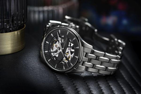 Hamilton Jazzmaster Skeleton 40mm, Reference H42535180: Stainless steel case, Skeletonized black dial and Stainless steel bracelet