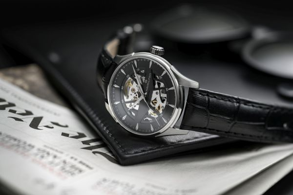 Hamilton Jazzmaster Skeleton 40mm, Reference H42535780: Stainless steel case, Skeletonized black dial and Black calf leather strap with pin buckle