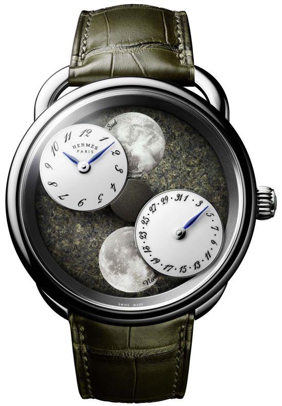 Hermès ARCEAU L'heure de la lune, New Model with platinum case and Martian meteorite dial