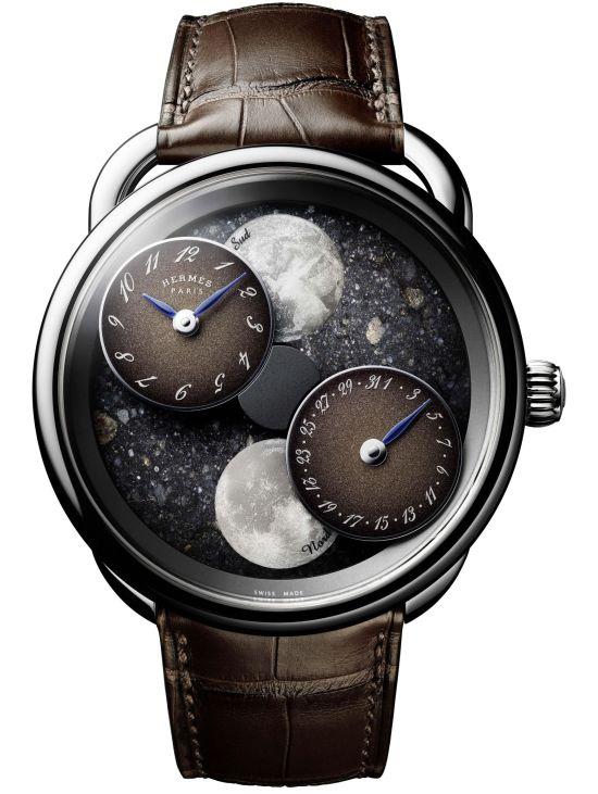 Hermès ARCEAU L'heure de la lune, New Models - with white gold case and lunar meteorite dial