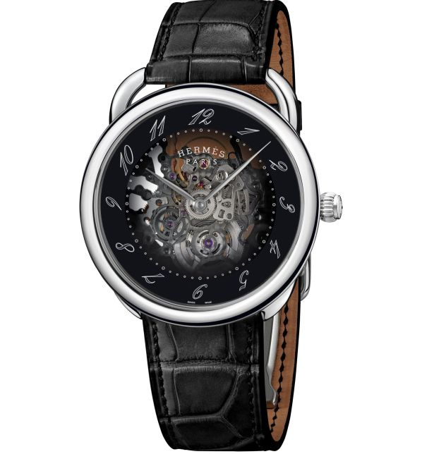 Hermès ARCEAU Squelette automatic watch, stainless steel case with smoked sapphire crystal dial