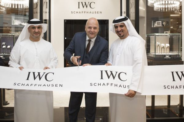 """Mohammad Abulmagied Seddiqi, IWC Regional Brand Director Luc Rochereau and Osama Seddiqi"" attend IWC Schaffhausen Boutique Dubai - Mall of The Emirates Opening on 16 October, 2016. (PPR/IWC)"
