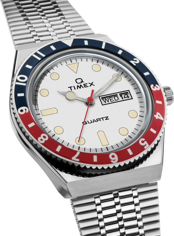 Q Timex new variant with White dial and blue-red bezel ring