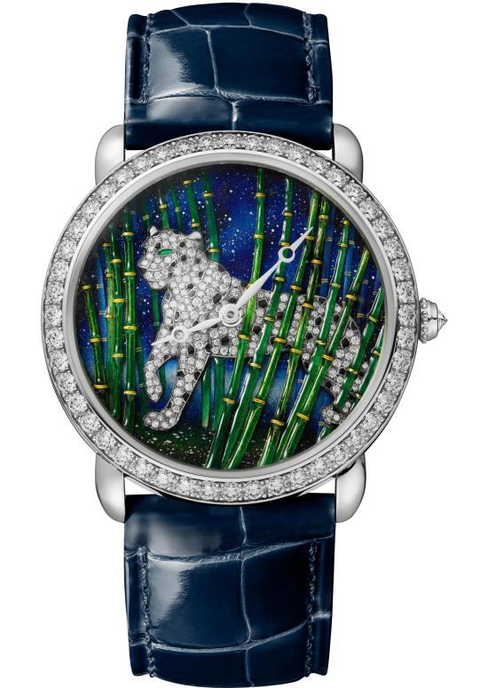 Ronde Louis Cartier Enamel Filigree Watch