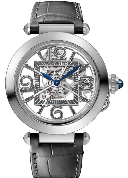 PASHA DE CARTIER WATCH: 41 mm, thickness: 10.45 mm; Steel case; Crown set with a sapphire cabochon; Interchangeable QuickSwitch steel bracelet and grey alligator leather strap; SmartLink size adjustment system; Manufacture mechanical movement with automatic winding 9624 MC, Skeleton