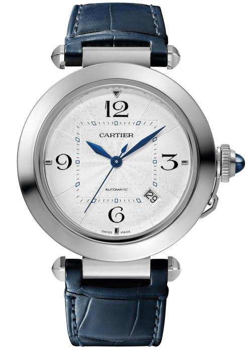 PASHA DE CARTIER WATCH: 41 mm, thickness: 9.55 mm; Steel Case; Crown set with a blue synthetic spinel cabochon; Interchangeable QuickSwitch navy blue and grey alligator leather straps; Manufacture Mechanical Movement with Automatic Winding 1847 MC