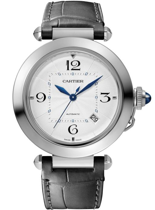 PASHA DE CARTIER WATCH: 41 mm, thickness: 9.55 mm; Steel case; Crown set with a blue synthetic spinel cabochon; Interchangeable QuickSwitch steel bracelet and grey alligator leather strap; SmartLink size adjustment system; Manufacture Mechanical Movement with Automatic Winding 1847 MC