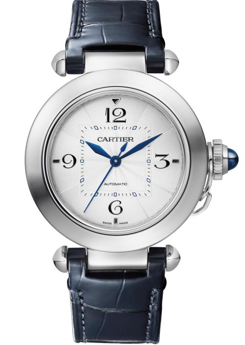 PASHA DE CARTIER WATCH: 35 mm, thickness: 9.37 mm; Steel case; Crown set with a blue synthetic spinel cabochon; Interchangeable QuickSwitch navy blue and fuschia alligator leather straps; Manufacture Mechanical Movement with Automatic Winding 1847 MC