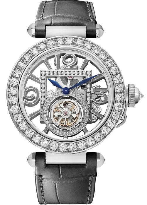 PASHA DE CARTIER WATCH: 41 mm, thickness: 10.45 mm; 18K white gold; Crown set with a brilliant-cut diamond (0.36 ct); Bezel, movement and buckle set with 179 brilliant-cut diamonds (2.59 cts); Interchangeable QuickSwitch grey and black alligator leather straps; Manufacture mechanical movement with manual winding 9466 MC, Tourbillon, skeleton