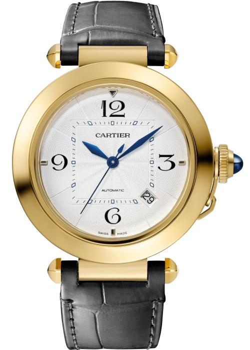 PASHA DE CARTIER WATCH: 41 mm, thickness: 9.55 mm; 18K yellow gold; Crown set with a sapphire cabochon; Interchangeable QuickSwitch navy blue and grey alligator leather straps; Manufacture Mechanical Movement with Automatic Winding 1847 MC