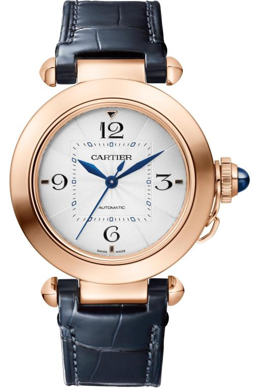 PASHA DE CARTIER WATCH: 35 mm, thickness: 9.37 mm; 18K pink gold case; Crown set with a sapphire cabochon; Interchangeable QuickSwitch navy blue and grey alligator leather straps; Manufacture Mechanical Movement with Automatic Winding 1847 MC
